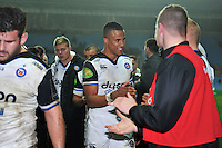 Anthony Watson of Bath Rugby is all smiles after the match. European Rugby Champions Cup match, between Wasps and Bath Rugby on December 13, 2015 at the Ricoh Arena in Coventry, England. Photo by: Patrick Khachfe / Onside Images
