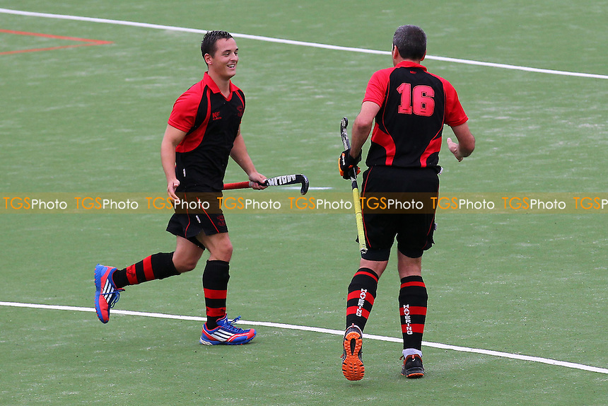 Havering celebrate their fourth goal - Havering HC vs City of Peterborough HC 3rd XI - East Hockey League at Campion School - 04/10/14 - MANDATORY CREDIT: Gavin Ellis/TGSPHOTO - Self billing applies where appropriate - contact@tgsphoto.co.uk - NO UNPAID USE