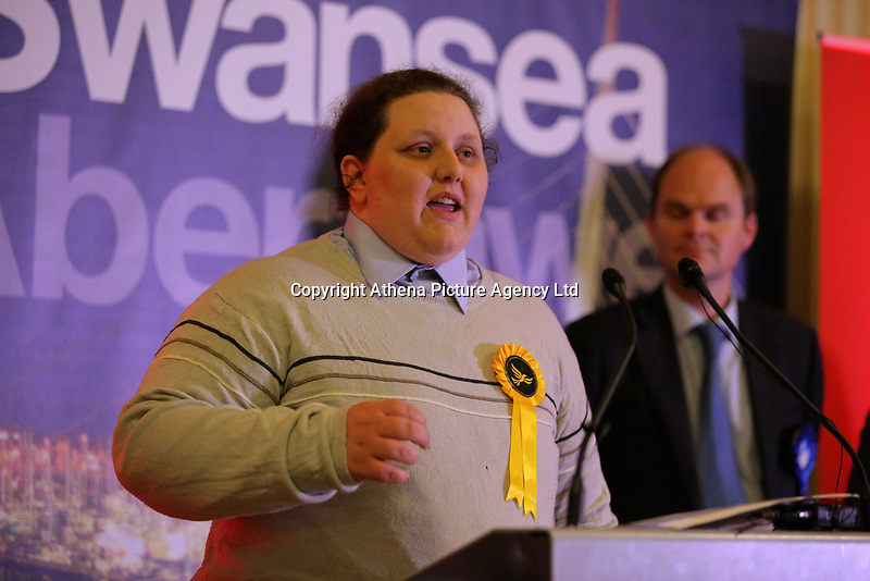 Pictured: Transgender Liberal Democrat candidate for Swansea East, Charley Hasted gives a thank you speech after the results were announced. Friday 09 June 2017<br />Re: Counting of ballots at Brangwyn Hall for the general election in Swansea, Wales, UK