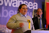 Pictured: Transgender Liberal Democrat candidate for Swansea East, Charley Hasted gives a thank you speech after the results were announced. Friday 09 June 2017<br />