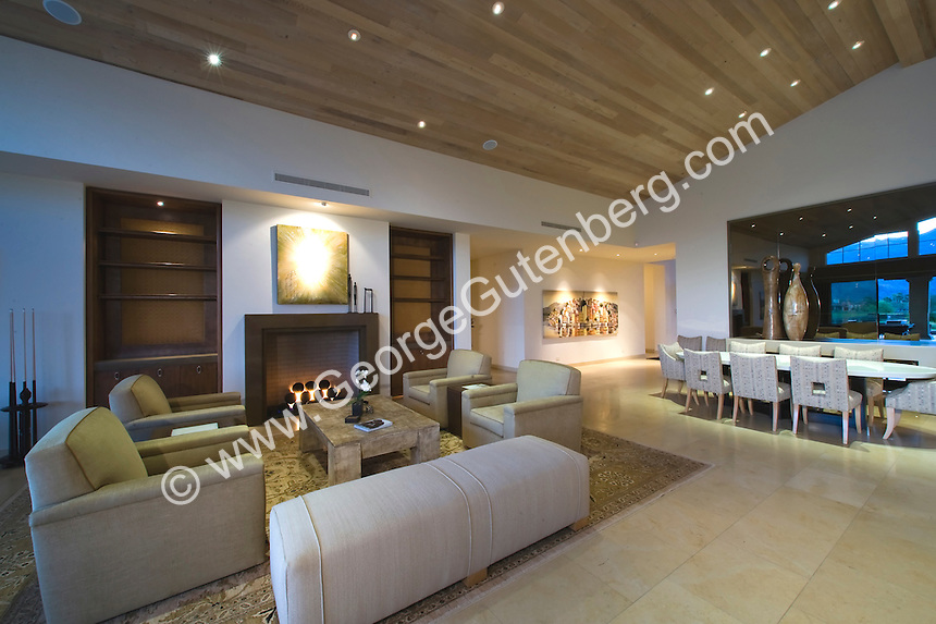 Large modern family and living room featuring beautiful tongue-in-groove ceilings and contemporary furniture
