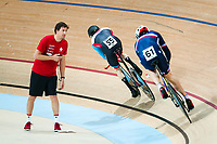 Picture by Alex Whitehead/SWpix.com - 22/03/2018 - Cycling - 2018 UCI Para-Cycling Track World Championships - Rio de Janeiro Municipal Velodrome, Barra da Tijuca, Brazil - Tristen Chernove of Canada and Francois Lacroix of France compete in the Men's C2 Individual Pursuit qualifying.