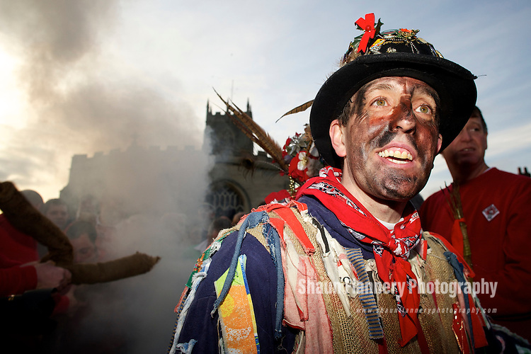 Pix: Shaun Flannery/shaunflanneryphotography.com...COPYRIGHT PICTURE>>SHAUN FLANNERY>01302-570814>>07778315553>>..6th January 2011................The Haxey Hood, a traditional event held in the village of Haxey, North Lincolnshire on the Twelfth Day of Christmas..The Fool, Dale Smith