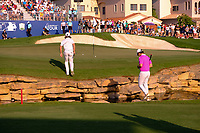 Tommy Fleetwood (ENG) and Rory McIlroy (NIR) playing onto the 18th green during the final round of the DP World Tour Championship, Jumeirah Golf Estates, Dubai, United Arab Emirates. 24/11/2019<br /> Picture: Golffile | Fran Caffrey<br /> <br /> <br /> All photo usage must carry mandatory copyright credit (© Golffile | Fran Caffrey)