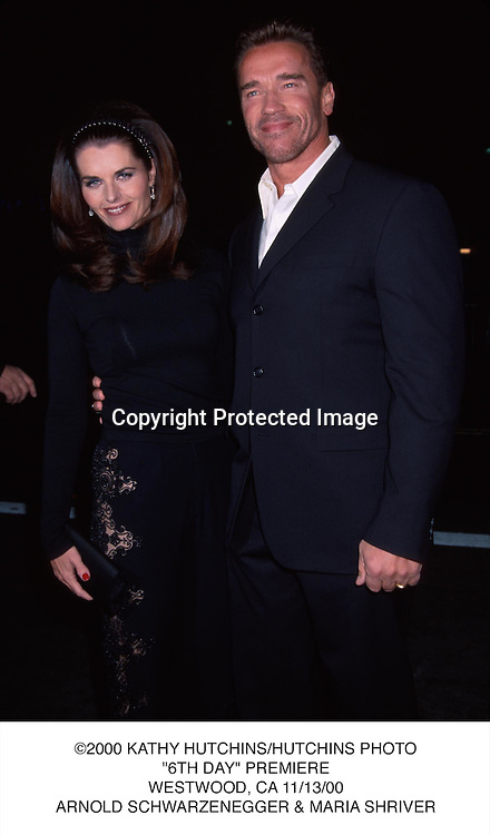 "©2000 KATHY HUTCHINS/HUTCHINS PHOTO.""6TH DAY"" PREMIERE.WESTWOOD, CA 11/13/00.ARNOLD SCHWARZENEGGER & MARIA SHRIVER"