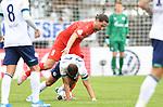 10.08.2019,  GER; DFB Pokal, SV Drochtersen/Assel vs FC Schalke 04 ,DFL REGULATIONS PROHIBIT ANY USE OF PHOTOGRAPHS AS IMAGE SEQUENCES AND/OR QUASI-VIDEO, im Bild Marcel Adrijanic (Drochtersen #08) versucht sich gegen Amine Harit (Schalke #25) durchzusetzen Foto © nordphoto / Witke *** Local Caption ***