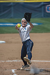 30 MAY 2016: Carrie Fix (11) of Messiah College delivers a pitch against University of Texas-Tyler during the Division III Women's Softball Championship held at the James I Moyer Sports Complex in Salem, VA.  University of Texas-Tyler defeated Messiah College 7-0 for the national title. Don Petersen/NCAA Photos