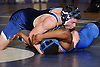 Charlie Ehrman of Huntington, left, looks to control Rodney Green of North Babylon at 170 pounds in the opening round of the Suffolk County varsity wrestling championship at North Babylon High School on Wednesday, Jan. 27, 2016. Ehrman pinned Green at the 3:29 mark to help 13th seeded Huntington to a 34-33 upset over fourth seeded North Babylon.