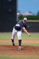 AZL Padres 2 starting pitcher Jefferson Garcia (44) follows through on his delivery during an Arizona League game against the AZL Padres 1 at Peoria Sports Complex on July 14, 2018 in Peoria, Arizona. The AZL Padres 1 defeated the AZL Padres 2 4-0. (Zachary Lucy/Four Seam Images)