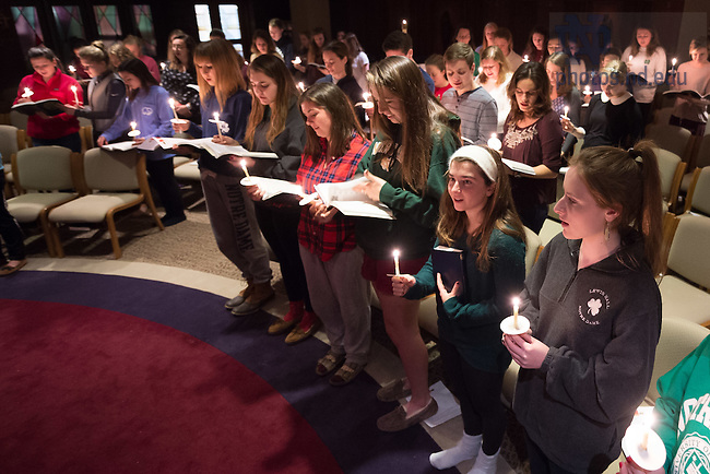 "December 5, 2016; Lewis Hall celebrates Lucenarium, or ""Lewis Luce,"" which is evening prayer in the Holy Cross tradition, on Monday nights. (Photo by Matt Cashore/University of Notre Dame)"