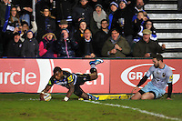 Semesa Rokoduguni of Bath Rugby scores a try in the corner. Aviva Premiership match, between Bath Rugby and Northampton Saints on December 5, 2015 at the Recreation Ground in Bath, England. Photo by: Patrick Khachfe / Onside Images