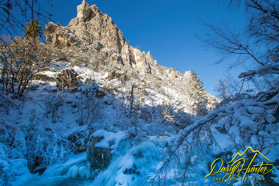A frosty and icy Palisades Creek in Swan Valley Idaho