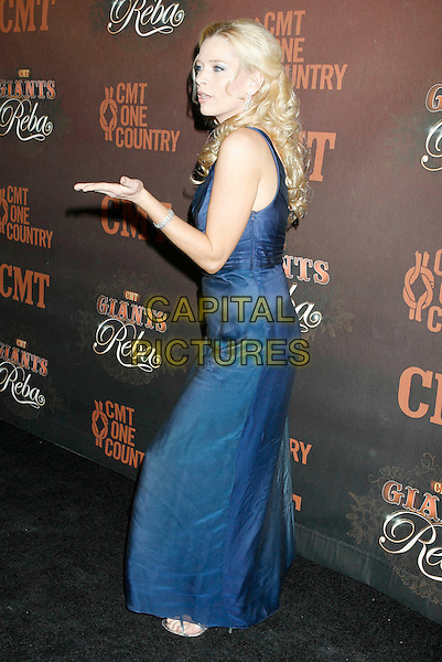"MELISSA PETERMAN.Arrivals at ""CMT Giants"" Honoring Reba McEntire held at the Kodak Theatre, Hollywood, LA, California, USA,.26 October 2006..full length blue dress one shoulder hand gesture.Ref: ADM/RE.www.capitalpictures.com.sales@capitalpictures.com.©Russ Elliot/AdMedia/Capital Pictures."