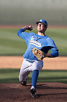 Ryan Deeter #40 of the UCLA Bruins pitches against the Washington State Cougars at Jackie Robinson Stadium on March 24, 2012 in Los Angeles,California. UCLA defeated Washington 12-3.(Larry Goren/Four Seam Images)
