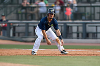 Right fielder Arnaldo Berrios (3) of the Columbia Fireflies takes a lead off first in a game against the Rome Braves on Sunday, July 2, 2017, at Spirit Communications Park in Columbia, South Carolina. Columbia won, 3-2. (Tom Priddy/Four Seam Images)
