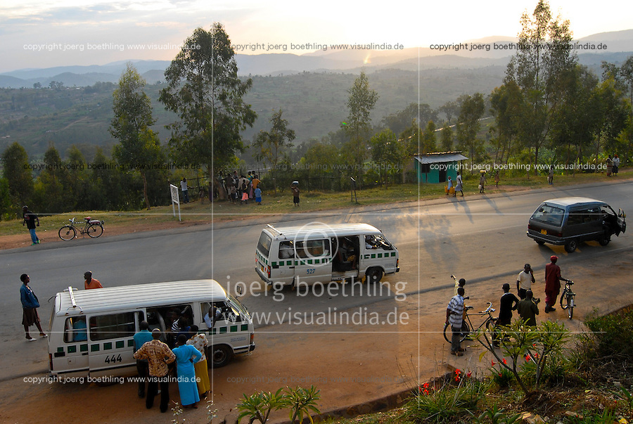 Rwanda, land of the thousand hills, road from Kigali to Nyanza, public transport with Minibus