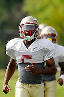 TALLAHASSEE, FLA. 3/26/11-FSU032611 CH-Greg Reid runs during practice Saturday in Tallahassee..COLIN HACKLEY PHOTO