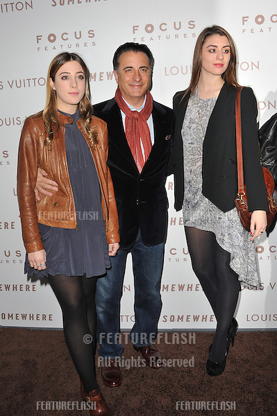 """Andy Garcia & daughters at the Los Angeles premiere of """"Somewhere"""" at the Arclight Theatre, Hollywood..December 7, 2010  Los Angeles, CA.Picture: Paul Smith / Featureflash"""
