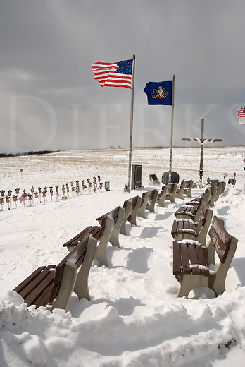 Picture of flags flying in the bitter cold winter wind Flight 93 Memorial crash site on 911, Shanksville, PA, USA.