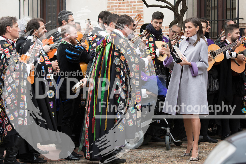 Kings of Spain, King Felipe VI of Spain and Queen Letizia of Spain delivers the Cervantes prize for literature in Spanish to the Uruguayan writer Ida Vitale at the Paraninfo of the Alcala University in the World Heritage City of Alcala de Henares near Madrid on April 23, 2019.<br /> Queen Letizia of Spain greets the Tuna from the University of Alcala
