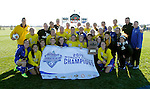 SIOUX FALLS, SD - NOVEMBER 7:  The South Dakota State Women's soccer team celebrates their 3-0 win over North Dakota State in the Summit League Championship Soccer match Saturday at Fischback Soccer Field in Brookings. (Photo by Dave Eggen/Inertia)