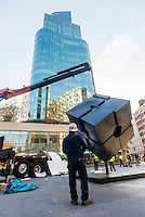New York, NY - 1 November 2016 - After a two and a half year absence for maintenance, the Alamo ( also known a The Cube) returned to Astor Place. The 1967 sculpture by Tony Rosenthal is a much beloved work of public art that bridges the East and West Village.