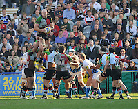London, England. George Robson (C) of Harlequins wins the line out during the Aviva Premiership match between Harlequins and Bath Rugby at Twickenham Stoop on March 24, 2012 in Twickenham, England.