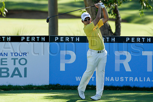 26.02.2016. Perth, Australia. ISPS HANDA Perth International Golf. Masahiro Kawamura (JPN) plays off the 13 tee during day 2.