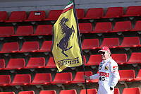 27th February 2020; Circuit De Barcelona Catalunya, Barcelona, Catalonia, Spain; Formula 1 2nd Pre season Testing Day Two; A Ferrari fan with flag in hand