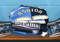 Nathan Ashton of Wycombe Wanderers, former Charlton and Fulham player who represented England at U19 leve has his Wycombe shirt, shorts, tracksuit and match programme neatly placed on the bench in the dressing room ahead of his arrival during Wycombe Wanderers vs Birmingham City, Carling Cup Football at Adams Park on 13th August 2008