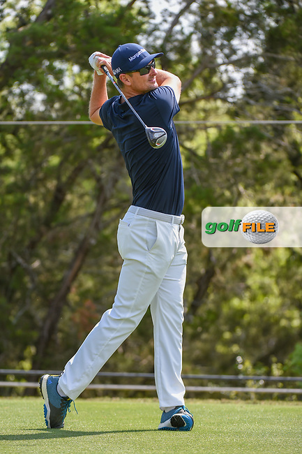 Justin Rose (GBR) watches his tee shot on 2 during day 1 of the WGC Dell Match Play, at the Austin Country Club, Austin, Texas, USA. 3/27/2019.<br /> Picture: Golffile   Ken Murray<br /> <br /> <br /> All photo usage must carry mandatory copyright credit (© Golffile   Ken Murray)