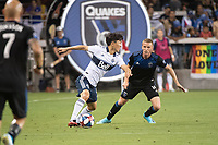 SAN JOSE, CA - AUGUST 25: Inbeom Hwang #4 of the Vancouver Whitecaps and Jackson Yueill #14 of the San Jose Earthquakes during a game between Vancouver Whitecaps FC and San Jose Earthquakes at Avaya Stadium on August 24, 2019 in San Jose, California.