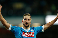 191 celebrates after scoring during the  italian serie a soccer match,between SSC Napoli and Sassuolo    at  the San  Paolo   stadium in Naples  Italy , January 17, 2016