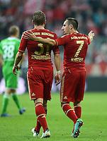 FUSSBALL   1. BUNDESLIGA  SAISON 2012/2013   5. Spieltag FC Bayern Muenchen - VFL Wolfsburg    25.09.2012 Bastian Schweinsteiger und Franck Ribery (v. li., FC Bayern Muenchen)