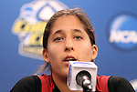 03 December 2011: Stanford's Teresa Noyola. The Stanford University Cardinal held a press conference at KSU Soccer Stadium in Kennesaw, Georgia the day before playing Duke in the NCAA Division I Women's Soccer College Cup championship game.