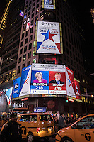 NY, NEW YORK, NOVEMBER 8Screens in Times Square shows the last results of the presidential election in New York on November 8,2016. Photo by VIEWpress/Maite H. Mateo.