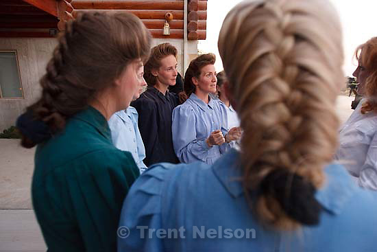 "Eldorado - FLDS women speak to the media after they were removed from their children Monday, April 14, 2008, at the YFZ ""Yearning for Zion"" Ranch. This was the first time that the media was invited onto the ranch; 04.14.2008"