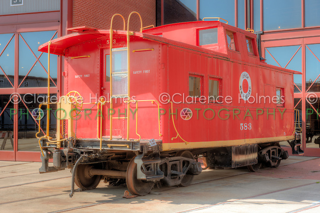 Lehigh and New England Railroad caboose #583 at the Steamtown National Historic Site in Scranton, Pennsylvania