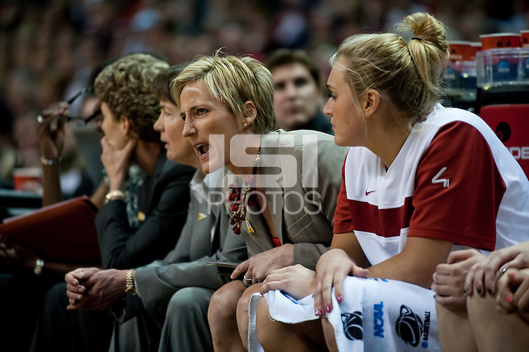 SPOKANE, WA - MARCH 28, 2011: Kate Paye, Stanford Women's Basketball vs Gonzaga, NCAA West Regional Finals at the Spokane Arena on March 28, 2011.