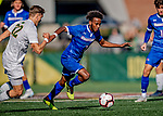 26 October 2019: University of Massachusetts Lowell River Hawk Midfielder Abdi Shariff-Hassan, a Junior from Lewiston, Maine, keeps the ball from University of Vermont Catamount Defender Ívar Örn Árnason, a Senior from Akureyri, Iceland, in first half action at Virtue Field in Burlington, Vermont. The Catamounts rallied to defeat the River Hawks 2-1, propelling the Cats to the America East Division 1 conference playoffs. Mandatory Credit: Ed Wolfstein Photo *** RAW (NEF) Image File Available ***