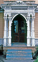 "Eureka CA: Simpson House--Porch.   Samuel & Joseph C. Newsom, 1884. Queen Anne style with ornamented porch as a ""picture frame"".   Photo '83."