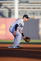 Tampa Tarpons second baseman Diego Castillo (19) waits to receive a throw during a game against the Daytona Tortugas on April 18, 2018 at George M. Steinbrenner Field in Tampa, Florida.  Tampa defeated Daytona 12-0.  (Mike Janes/Four Seam Images)
