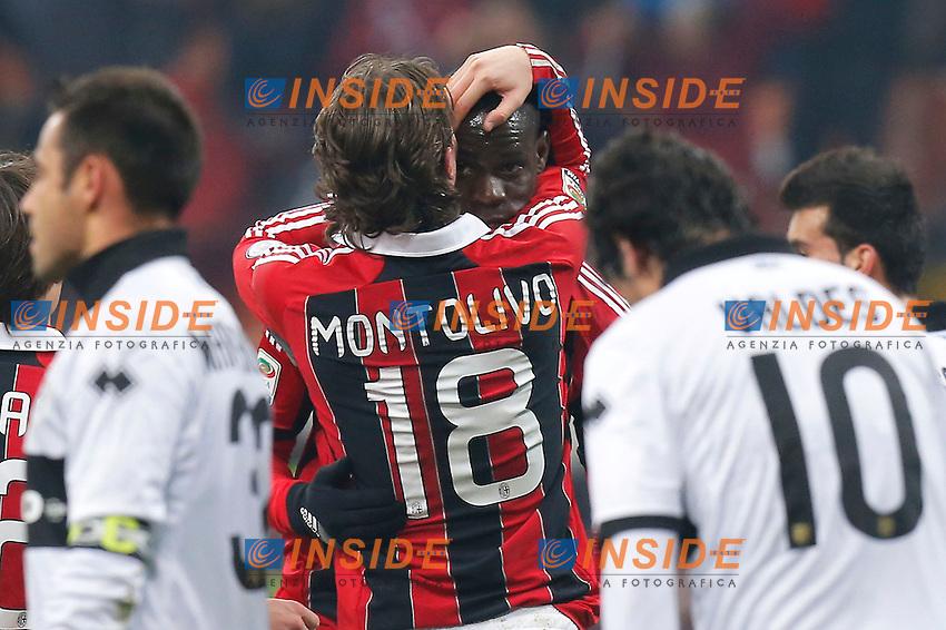 """Esultanza dopo il gol Mario Balotelli Milan, 2-0, Milano 15/2/2013 .Stadio """"S.Siro"""".Football Calcio 2012/2013 Serie A.Milan Vs Parma.Foto Marco Bertorello Insidefoto"""