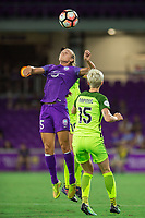 Orlando, FL - Thursday September 07, 2017: Rachel Hill, Megan Rapinoe during a regular season National Women's Soccer League (NWSL) match between the Orlando Pride and the Seattle Reign FC at Orlando City Stadium.