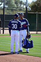 Dave Roberts, manager, speaks to Julio Urias - Los Angeles Dodgers 2016 spring training (Bill Mitchell)