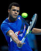Jo-Wilfred Tsonga (FRA) (8) against Mardy Fish (USA) in the round Robin stage of the Barclays ATP World Tour Finals..Barclays ATP World Tour Finals, 22.11.2011, .22nd November, 2011. 11.22.2011, 02, London. UK..@AMN IMAGES, Frey, Advantage Media Network, Level 1, Barry House, 20-22 Worple Road, London, SW19 4DH.Tel - +44 208 947 0100.email - mfrey@advantagemedianet.com.www.amnimages.photoshelter.com.