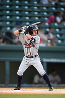 Shortstop Marcus Mooney (2) of the Rome Braves bats in game two of a doubleheader against the Greenville Drive on Tuesday, May 30, 2017, at Fluor Field at the West End in Greenville, South Carolina. Rome won, 10-7. (Tom Priddy/Four Seam Images)