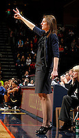 Virginia Cavaliers head coach Joanne Boyle standsedduring the game against Florida State Jan. 29, 2012 in Charlottesville, Va.  Virginia defeated Florida State 62-52.