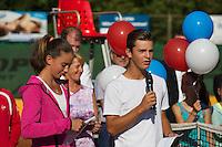 Netherlands, Dordrecht, August 03, 2015, Tennis,  National Junior Championships, NJK, TV Dash 35, Opening ceremony, Fleur Amperse and Max Oskam<br /> Photo: Tennisimages/Henk Koster