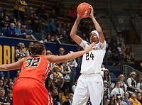 Courtney Range of California prepares to pass the ball during the game against Oregon State at Haas Pavilion in Berkeley, California on January 3rd, 2014.  California defeated Oregon State, 72-63.